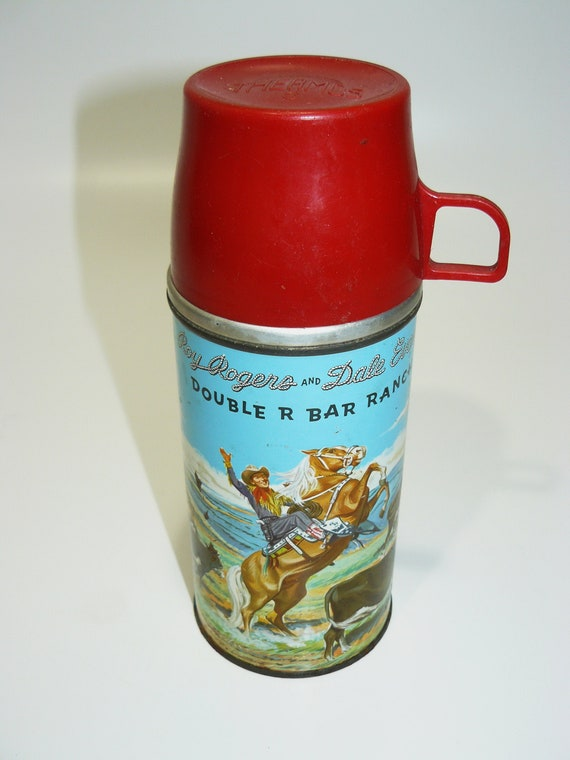 Vintage Roy Rogers Thermos Holtemp Vacuum Bottle Double R Bar Ranch Red Poly Top For Lunch Box