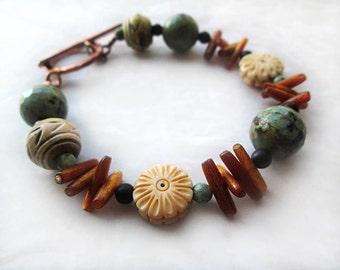 Earthy Bracelet, Rustic Bracelet, Copper Bracelet, Rustic Jewelry, Boho Bracelet