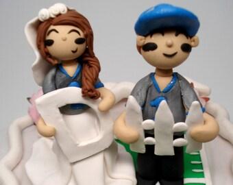 Sports Fan Wedding Cake Topper Custom Bride and Groom Sports Cake Topper Custom Wedding