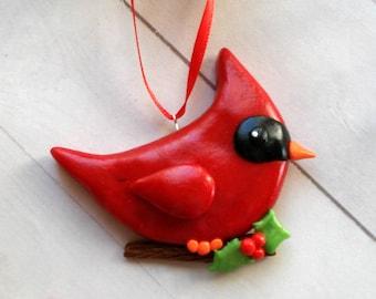 Cardinal Christmas Ornament - Bird Christmas Ornaments - Rustic Christmas Decoration - Polymer Clay Christmas Ornament