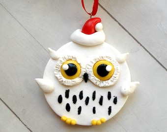snowy owl ornament owl christmas ornament owl christmas decorations woodland home decor geek gift ideas black