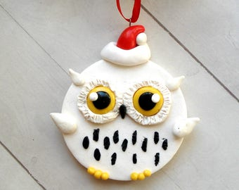 snowy owl ornament owl christmas ornament owl christmas decorations woodland home decor geek gift ideas black and white christmas