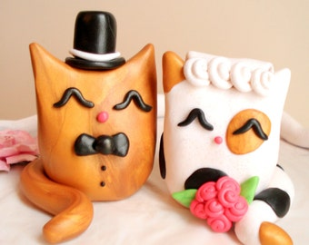 Cat Wedding Cake Topper Bride and Groom Kitty Cake Topper Wedding Decoration Anniversary Keepsake