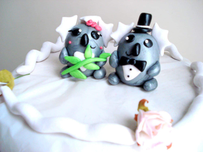 Cool Koala Wedding Cake Topper Bride And Groom Koala Bear Cake Etsy Funny Birthday Cards Online Hetedamsfinfo
