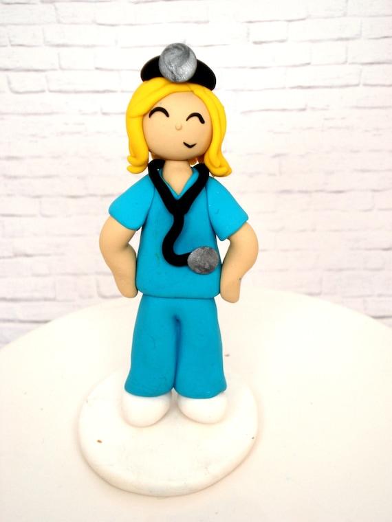 Mädchen Arzt Kuchendeckel Mädchen Figur Polymer Clay Figur Etsy