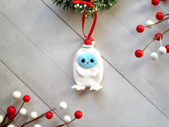 Abominable Snowman Christmas Ornament Polymer Clay Yeti   Etsy