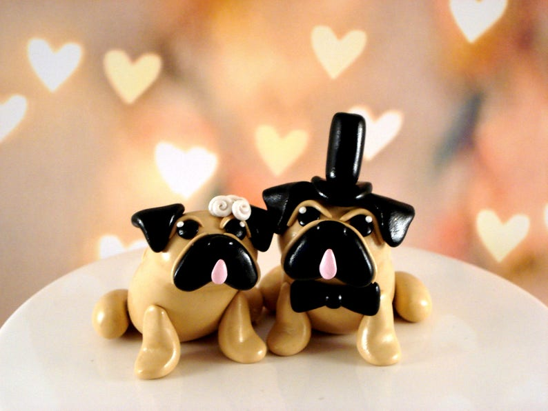Pug Cake Toppers Wedding Keepsake Cake Decoration Wedding Decor Wedding Cake Topper Anniversary Cake Topper Pug Wedding Cake Topper
