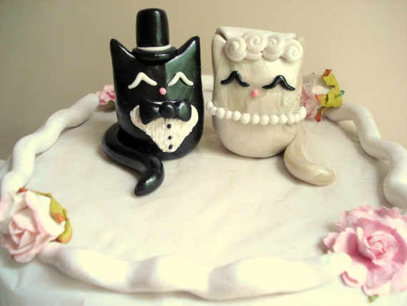 Cat wedding cake topper polymer clay kitty cake topper etsy image 0 junglespirit Images