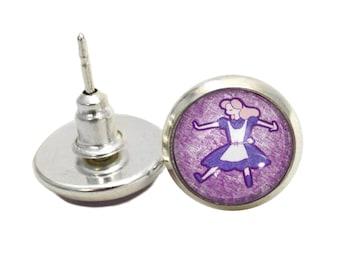 Stud Earrings - Alice Jewelry - Alice in Wonderland - Silver Plated