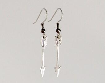 Arrow Earrings, Arrow Jewelry, Silver Toned, Archery, Bridesmaid Gift, Silver Arrow Earring, Hunter, Dangle Earrings, Boho Earrings, Gypsy