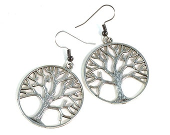 Circle of Life Tree Statement Earrings Festival Gypsy Behemian Celtic Jewelry on Hypoallergenic Steel Hooks or Clip Ons Boho Gift for Friend