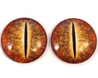 Orange Tribal Dragon Eyeball Cabochon for Pendant Earring Ring Blanks 8mm 10mm 12mm 13mm 14mm 16mm 18mm 20mm 25mm 30mm Glass Eyes