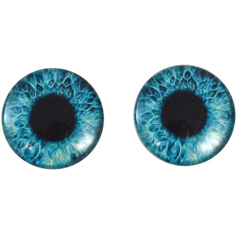 40mm Bright Blue Human Glass Eyes Pair for Jewelry Making or Taxidermy Art Doll Sculptures Big Eyeball Flatback Domed Circle Cabochons