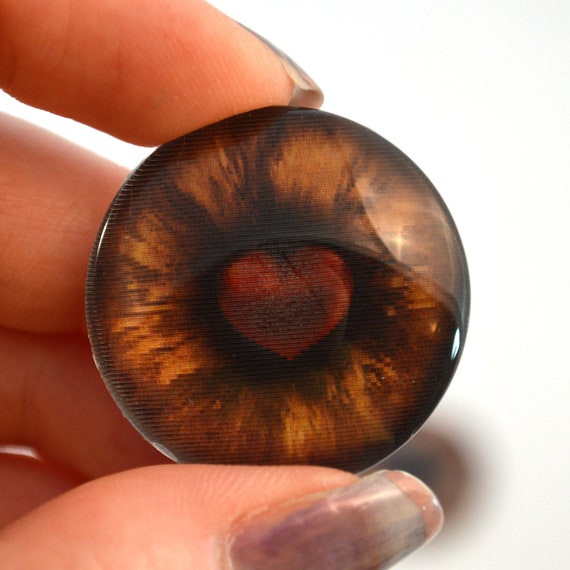 Pair of Orange Octopus Eyes 30mm Glass Eye for Taxidermy Sculptures or Jewelry Making Pendants Crafts Art Doll Wire Wrapping DIY Flatback Cabochon