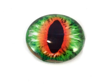 25mm Dragon Orange and Green Glass Eye for Jewelry Making or Taxidermy Doll Sculptures Eyeball Flatback Circle Cabochon