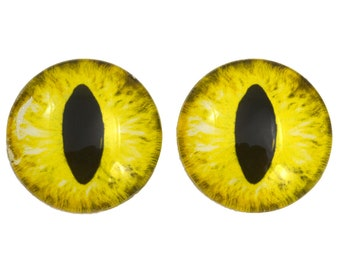Yellow Cat Glass Eyes - Pick Your Size - Jewelry Making Art Dolls Taxidermy Sculptures - Eyeball Flatback Domed Bright Dragon Cabochon Craft