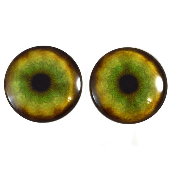 40mm Jewelry Making Art Doll Part Taxidermy Sculpture Polymer Clay Flatback Domed Cabochons Blue and Red Fantasy Human Doll Glass Eyes 6mm
