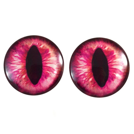 Pair of 25mm 1 Inch Hot Pink cat or Dragon Glass Eyes for Jewelry or Doll Making