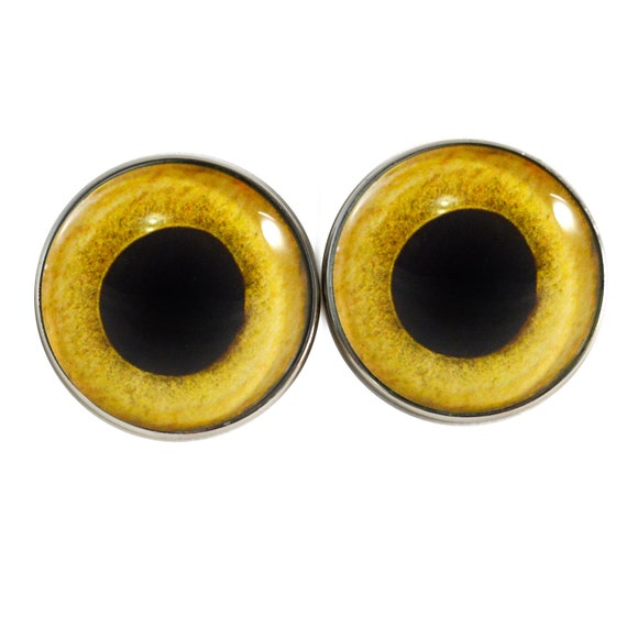 10mm Yellow Owl Bird Animal Glass Eyes for Jewelry Art Dolls Sculptures Crafts
