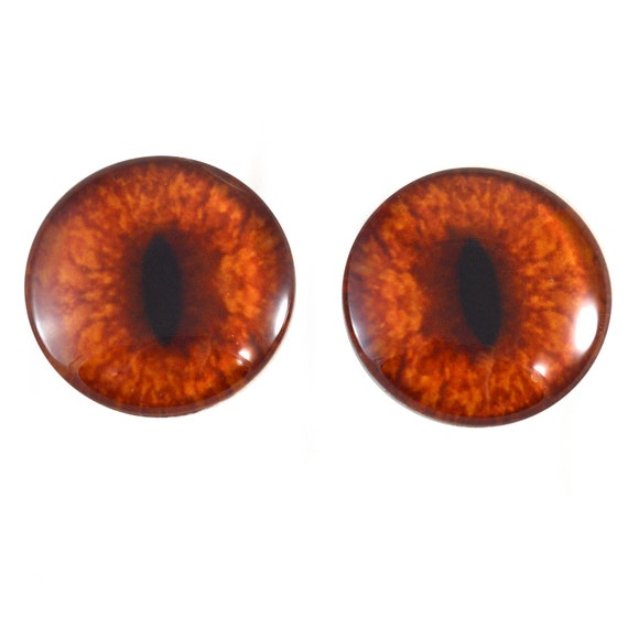 16mm Orange Fox Glass Art Doll Eyes Animal Realistic Jewelry Making Supply