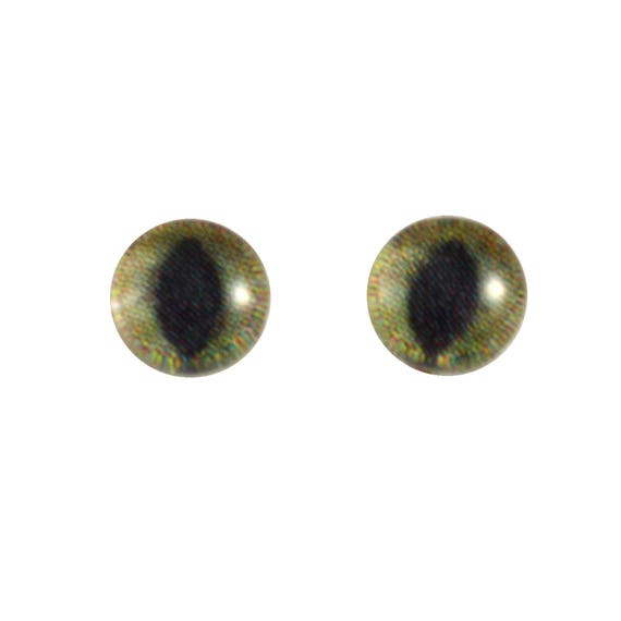 16mm Glass Tiger Eyes Animal Pair Realistic Taxidermy Sculptures or Jewelry Making Crafts Set of 2