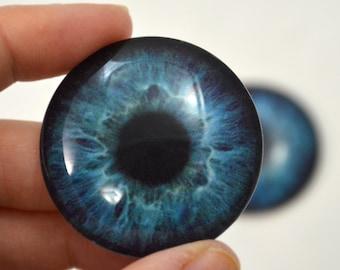 Deep Blue Human Glass Eyes Sizes 6mm to 40mm Jewelry Real Art Dolls Dark Taxidermy Sculpture Polymer Clay Eyeball Flatback Domed Cabochon
