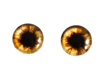 10mm Brown Teddy Bear Glass Eyes for Doll or Jewelry Making - Set of 2 - Flatback Handmade Cabochons - Jewellery or Taxidermy Craft Projects