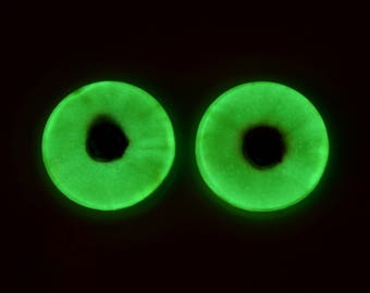 Glow in the Dark Eyes - 25mm Yellow and Red - 1 Inch Glass Eyes Pair - Peel and Stick Adhesive Backing - For Art Dolls, Jewelry, Taxidermy