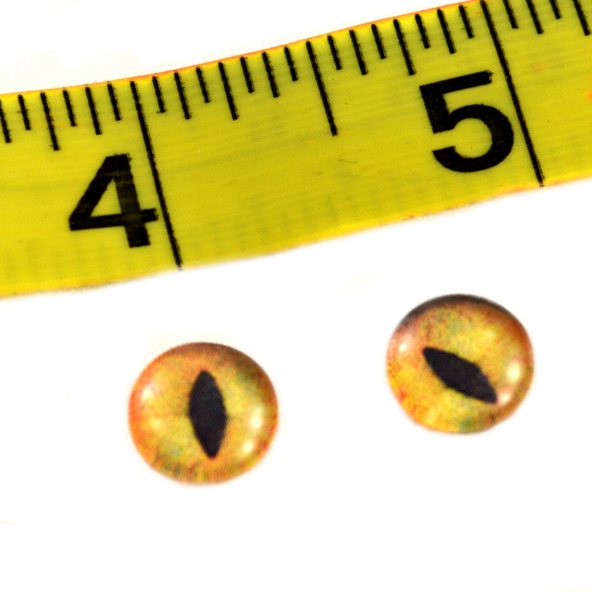 10mm Yellow and Orange Fish Glass Eyes Fantasy Cabochons for Art Doll Taxidermy Sculptures or Jewelry Making Set of 2
