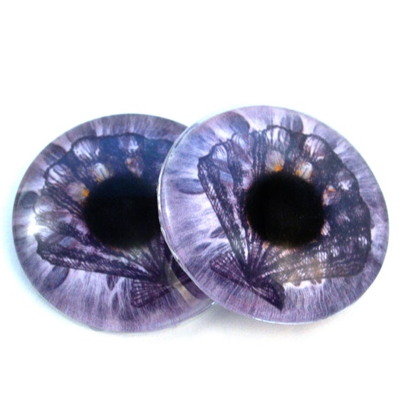 40mm Pair of Large Blue Octopus Glass Eyes Sculptures for Jewelry making Arts Dolls and More