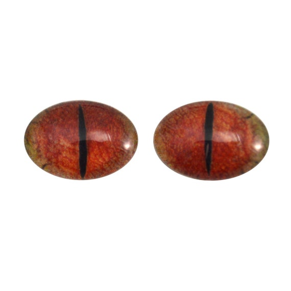 Fantasy Art Doll Pair Cabochons 18x25mm Red and Gold Dragon Oval Glass Eyes