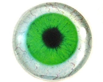 30mm Green Glass Eye for Pendant Jewelry Making or Taxidermy Fantasy Human Doll Eyeball Flatback Circle with White Sclera