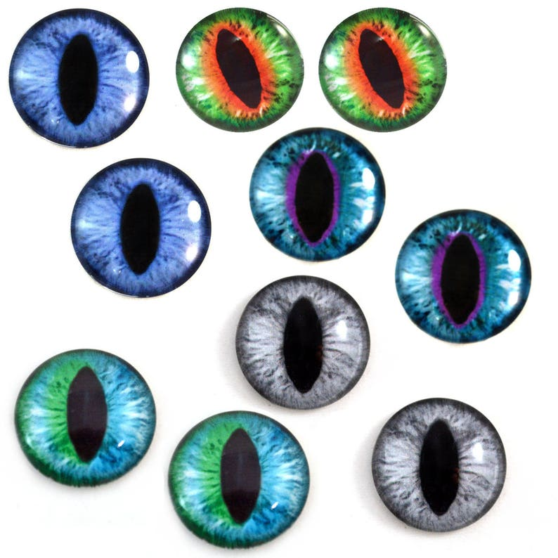 25mm Single Teal Blue and Green Dragon or Cat Glass Eye for Taxidermy Sculptures or Jewelry Making Crafts