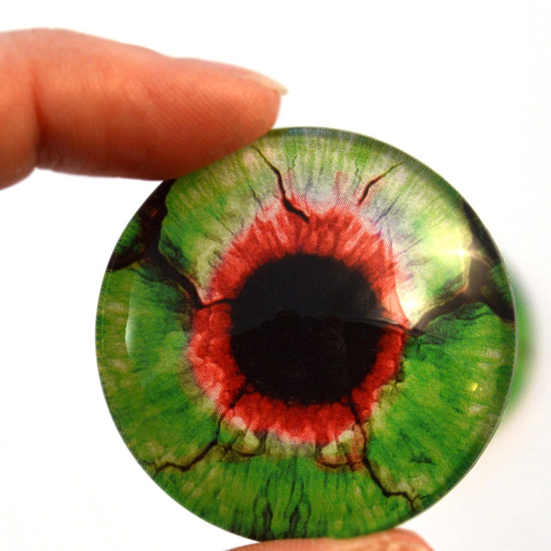 Green and Red Zombie Glass Eyes 6mm 8mm 10mm 12mm 14mm 16mm image 0