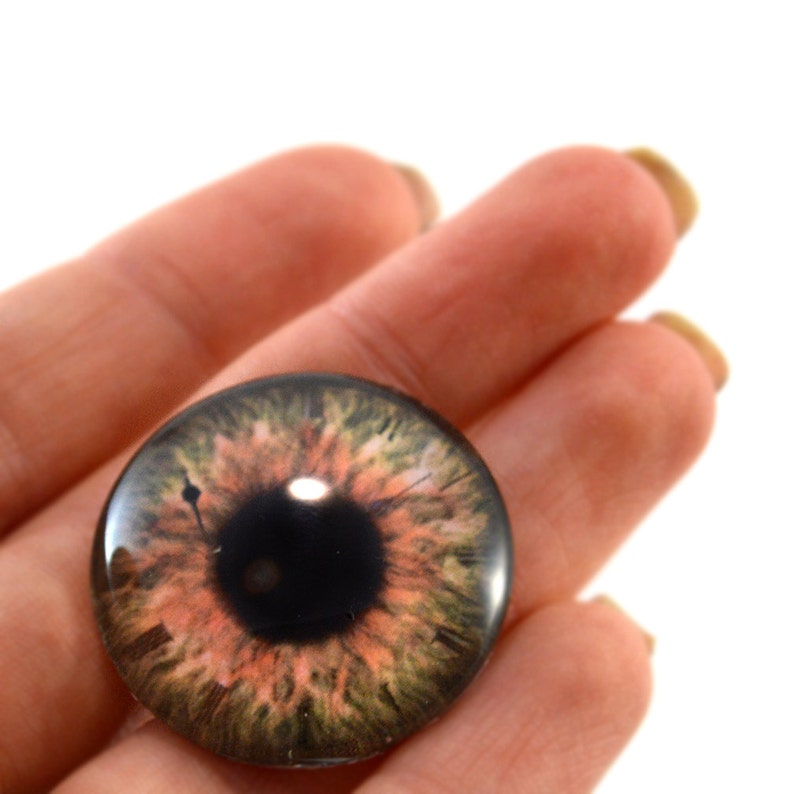 Pair of 30mm Red and Black Fantasy Glass Eyes for Jewelry or Doll Making