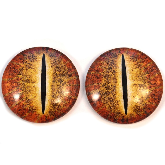 Pair of 40mm Orange Cat Glass Eyes Cabs Set Jewelry Supply Sculpture Making
