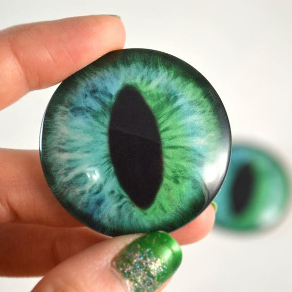 16mm Green Alligator Glass Doll Eyes for Sculptures Jewelry Making or Taxidermy