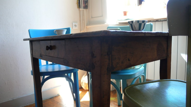 Antique Table, French furniture, small kitchen Table, fruitwood desk,  country style, restored furniture, rustic living