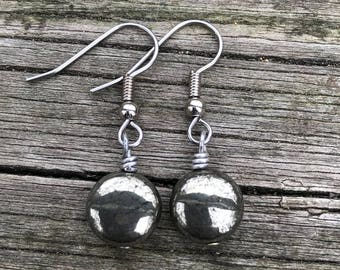 Pyrite Rounds . Earrings