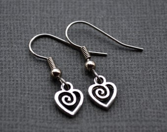 Tiny Silver Spiral Hearts . Earrings