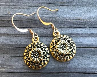 Gold Mandalas . Flower and Hearts . Earrings