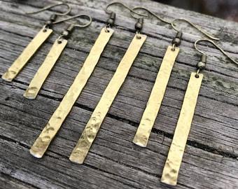 Hammered Gold Bars . Earrings