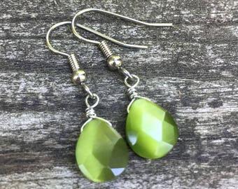 Green Cats Eye Glass Teardrops . Earrings