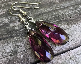 Amethyst Glass Teardrops . Earrings