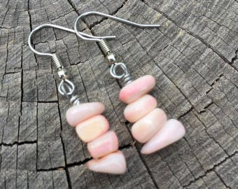 Light Pink Mother of Pearl Shells . Earrings