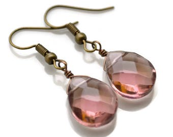 Light Amethyst Glass Teardrops . Earrings