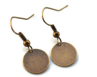 Antique Brass Discs . Earrings
