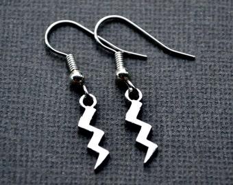 Tiny Silver Lightning Bolts . Earrings