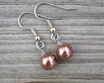 Chocolate Glass Pearls . Earrings