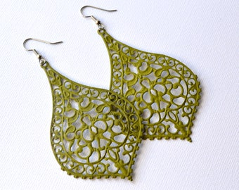 Olive Green Filigree Bohemian Teardrops . Earrings . Teague Collection
